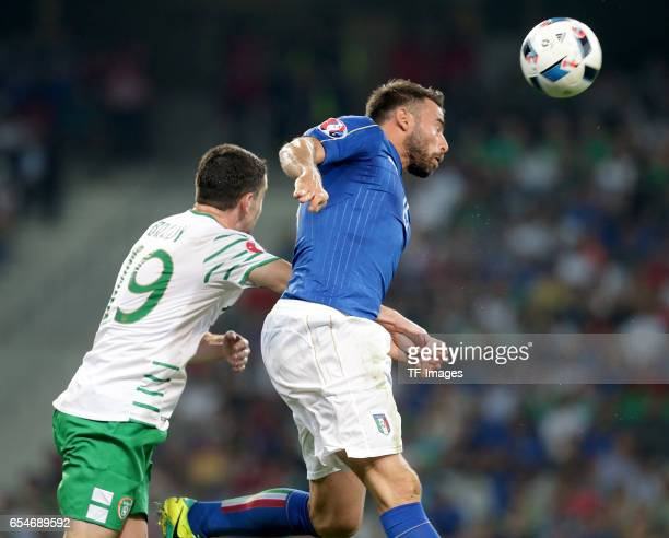 Robbie Brady of Ireland and Andrea Barzagli of Italy battle for the ball during the UEFA Euro 2016 Group E match between Italy and Republic of...
