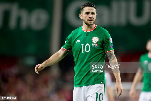 Robbie Brady of Ireland during the FIFA World Cup 2018 PlayOff match between Republic of Ireland and Denmark at Aviva Stadium in Dublin Ireland on...