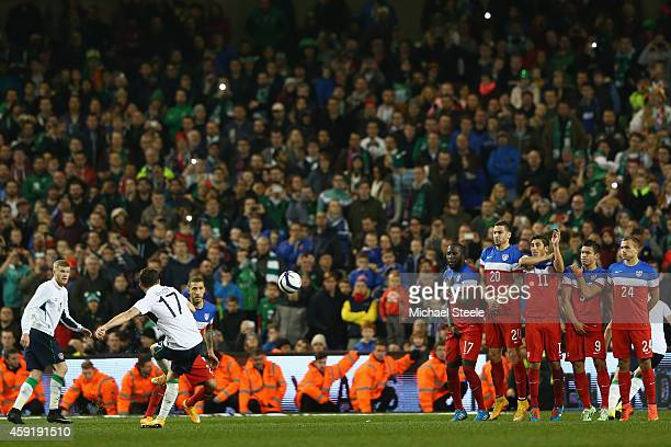 Robbie Brady of Ireland scores his sides fourth goal direct from a free kick during the International Friendly match between the Republic of Ireland...