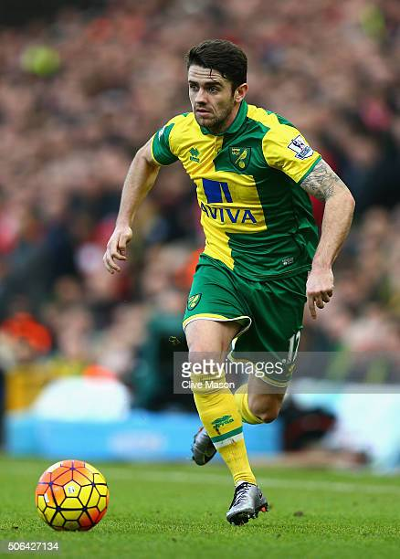 Robbie Brady of Norwich City in action during the Barclays Premier League match between Norwich City and Liverpool at Carrow Road on January 23 2016...