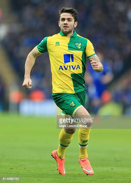 Robbie Brady of Norwich in action during the Barclays Premier League match between Leicester City and Norwich City at the King Power Stadium on...