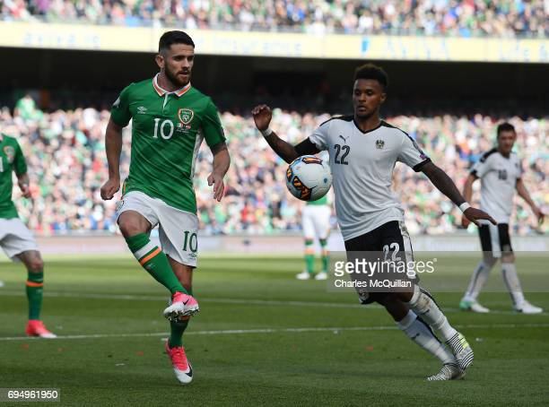 Robbie Brady of Republic of Ireland and Valentino Lazaro of Austria during the FIFA 2018 World Cup Qualifier between Republic of Ireland and Austria...