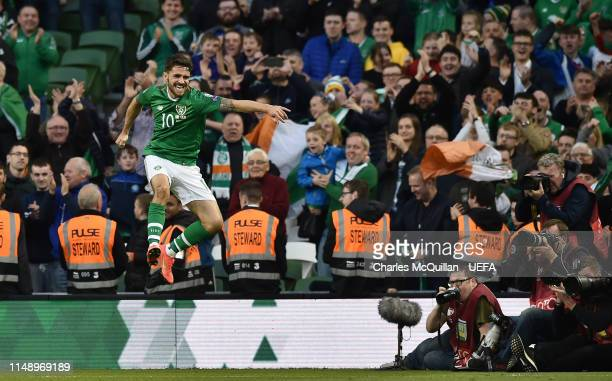 Robbie Brady of Republic of Ireland celebrates after scoring during the UEFA Group D Euro 2020 qualifying game between Republic of Ireland and...
