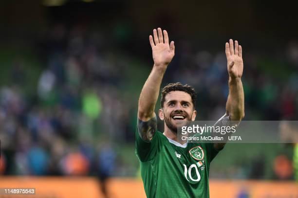 Robbie Brady of Republic of Ireland celebrates after the UEFA Group D Euro 2020 qualifying game between Republic of Ireland and Gibraltar at Aviva...