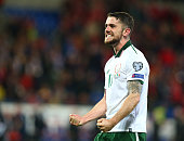 robbie brady republic ireland celebratesduring world