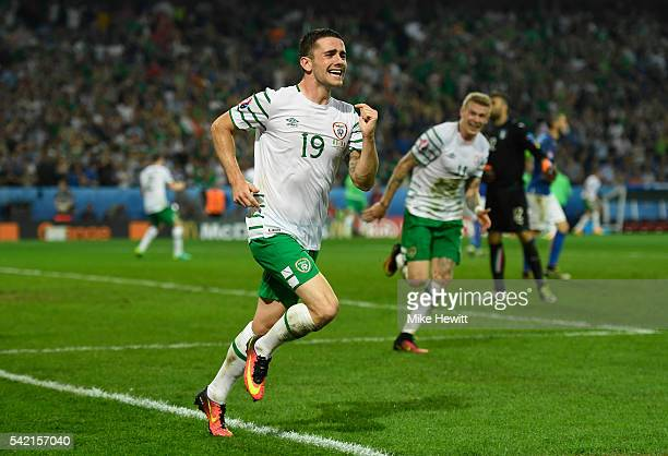 Robbie Brady of Republic of Ireland celebrates scoring his team's first goal during the UEFA EURO 2016 Group E match between Italy and Republic of...