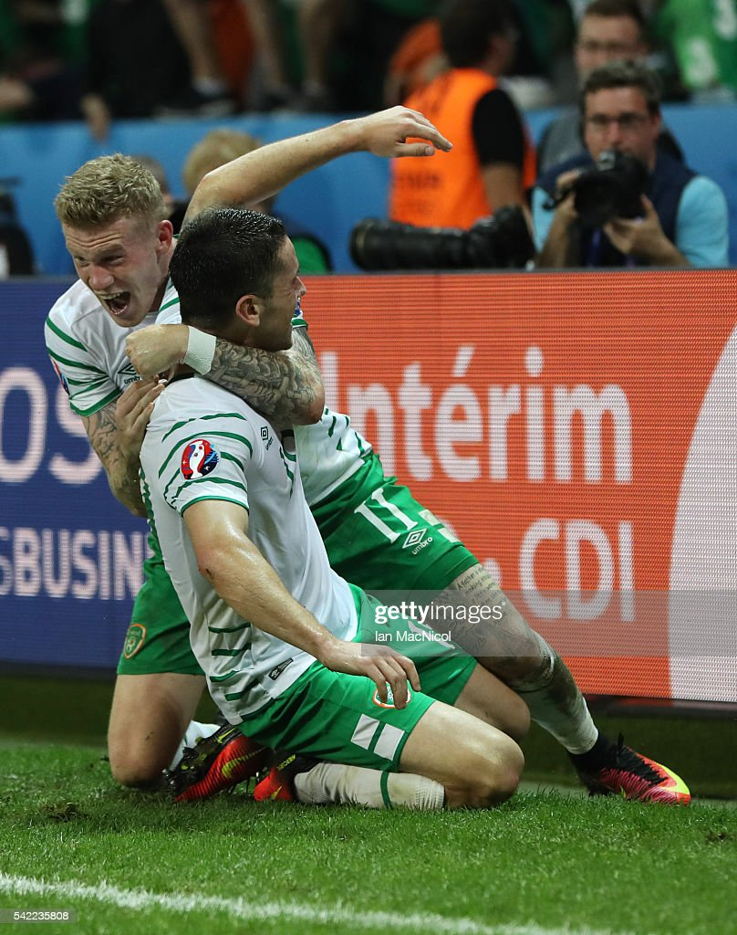 Robbie Brady of Republic of Ireland celebrates with James McClean of Republic of Ireland after he scores during the UEFA EURO 2016 Group E match between Italy and Republic of Ireland at Stade Pierre-Mauroy on June 22, 2016 in Lille, France.