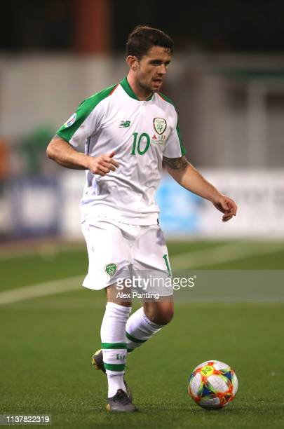 Robbie Brady of Republic of Ireland runs with the ball during the 2020 UEFA European Championships group D qualifying match between Gibraltar and...