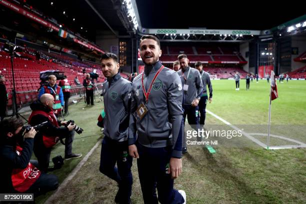 Robbie Brady of the Republic of Ireland arrives at the stadium prior to the FIFA 2018 World Cup Qualifier PlayOff First Leg between Denmark and...