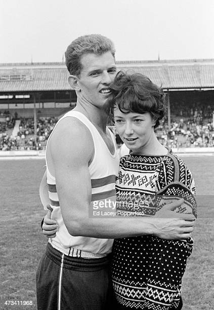 Robbie Brightwell with his fiance Ann Packer during the Great Britain v Poland track and field event at the White City Stadium in London on 15th...