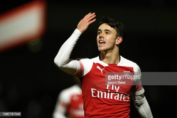 Robbie Burton of Arsenal celebrates after he scores his sides second goal from the penalty spot during the Premier League 2 match between Arsenal and...