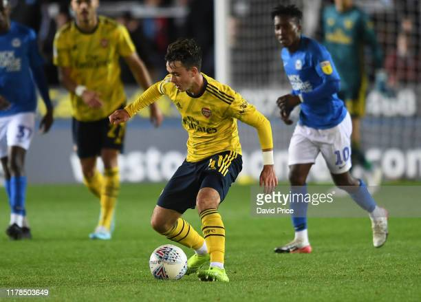 Robbie Burton of Arsenal during the Leasing.com Cup match between Peterborough United and Arsenal U21 at Weston Homes Stadium on October 01, 2019 in...