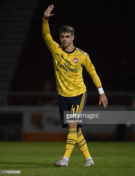 Robbie Burton of Arsenal during the Leasingcom match between Northampton Town and Arsenal U21 at PTS Academy Stadium on August 27 2019 in Northampton...
