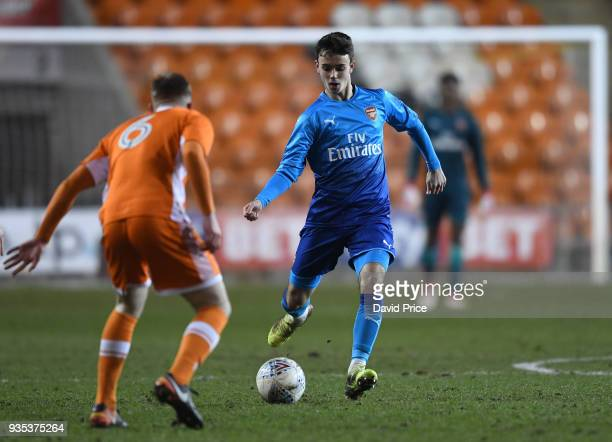 Robbie Burton of Arsenal during the match between Blackpool and Arsenal at Bloomfield Road on March 20 2018 in Blackpool England