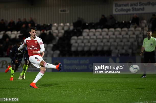 Robbie Burton of Arsenal scores his team's second goal during the Premier League 2 match between Arsenal and Manchester City at Meadow Park on...
