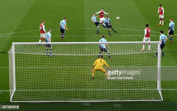 Robbie Burton scores the 3rd Arsenal goal from outside the penalty area during the FA Youth Cup Semi Final 2nd Leg match between Arsenal and...