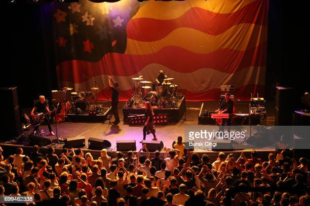 Robbie Chater Spank Rock Eliza Wolfgramm and Tony Di Blasi of The Avalanches perform at O2 Forum Kentish Town on June 21 2017 in London England