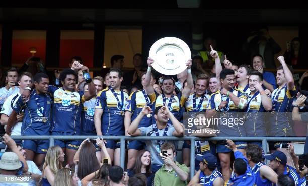 Robbie Coleman captain of the ACT Brumbies lifts the World Club 7's Cup after defeating Auckland in the final during the World Club Cup 7's at...
