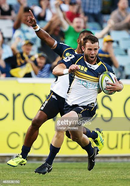 Robbie Coleman of the Brumbies scores a try during the round one Super Rugby match between the Brumbies and the Reds at GIO Stadium on February 13...