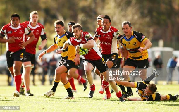 Robbie Coleman of the Vikings makes a line break to score during the round one National Rugby Championship match between the Canberra Vikings and...