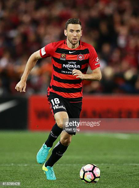 Robbie Cornthwaite of the Wanderers controls the ball during the round one ALeague match between the Western Sydney Wanderers and Sydney FC at ANZ...
