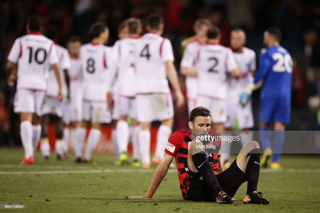 Robbie Cornthwaite of the Wanderers looks dejected after the FFA Cup Semi Final match between the Western Sydney Wanderers and Adelaide United at Campbelltown Sports Stadium on October 24, 2017 in Sydney, Australia.