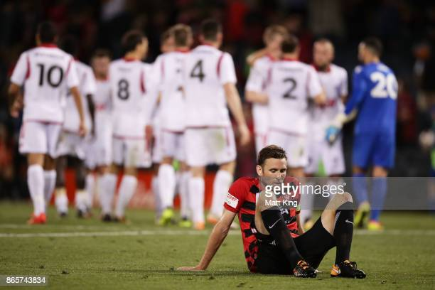 Robbie Cornthwaite of the Wanderers looks dejected after the FFA Cup Semi Final match between the Western Sydney Wanderers and Adelaide United at...