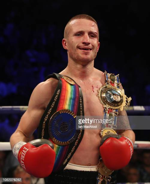 Robbie Davies Jr celebrates victory over Glenn Foot during the British Commonwealth SuperLightweight Championship fight at Metro Radio Arena on...