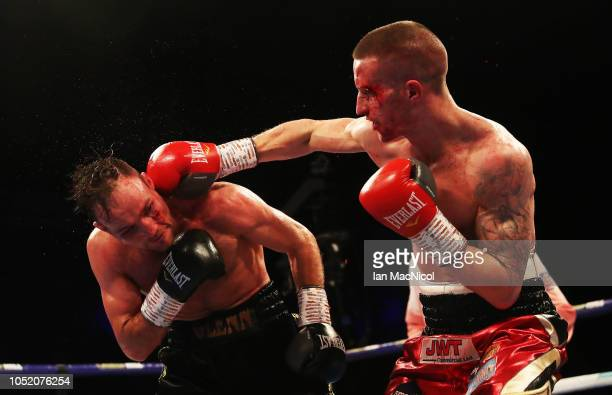 Robbie Davies Jr fights Glenn Foot during the British Commonwealth SuperLightweight Championship fight at Metro Radio Arena on October 13 2018 in...