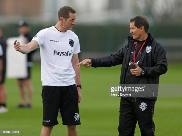 Robbie Deans and Will Greenwood of Barbarians during a training session at Latymer Upper School playing fields on October 31 2017 in London England