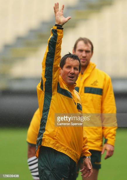 Robbie Deans coach of the Wallabies gives instructions during an Australia IRB Rugby World Cup 2011 training session at North Harbour Stadium on...