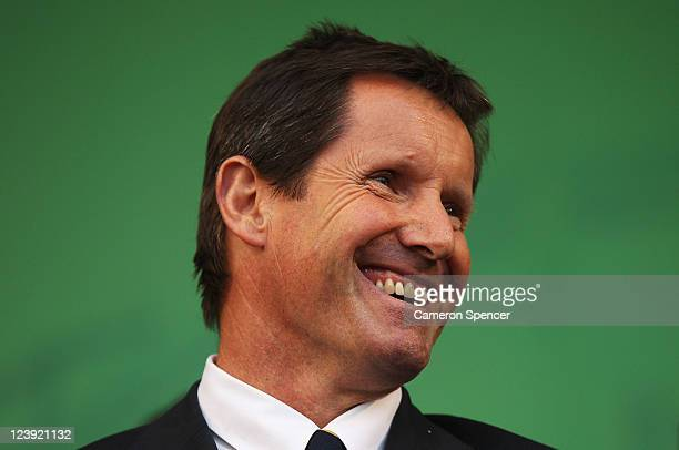 Robbie Deans coach of the Wallabies smiles during the Australian Wallabies IRB Rugby World Cup 2011 official team welcome ceremony at Aotea Square on...