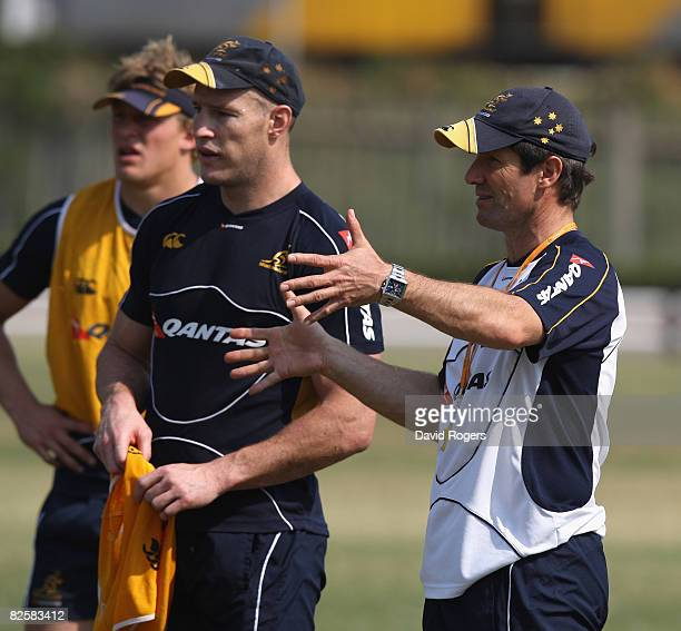 Robbie Deans the Wallaby Head Coach talks to his captain Stirling Mortlock during the Australian Wallabies training session held at Kings Park...