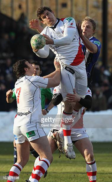 Robbie Diack of Ulster gathers the high ball as Lewis Moody challenges during the Heineken Cup pool 4 match between Bath and Ulster at the Recreation...