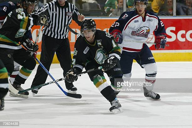 Robbie Drummond of the London Knights skates against the Saginaw Spirit at the John Labatt Centre on September 22, 2006 in London, Ontario, Canada.