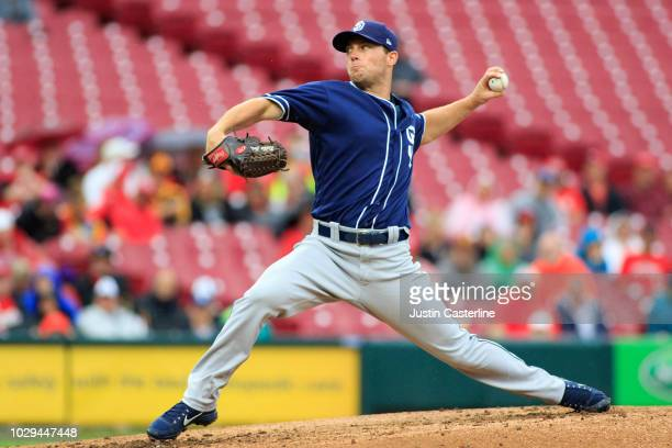 Robbie Erlin of the San Diego Padres throw a pitch against the Cincinnati Reds in the first inning at Great American Ball Park on September 8 2018 in...