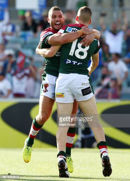 Robbie Farah and Adam Doueihi of Lebanon celebrate a try by Doueihi during the 2017 Rugby League World Cup match between France and Lebanon at...