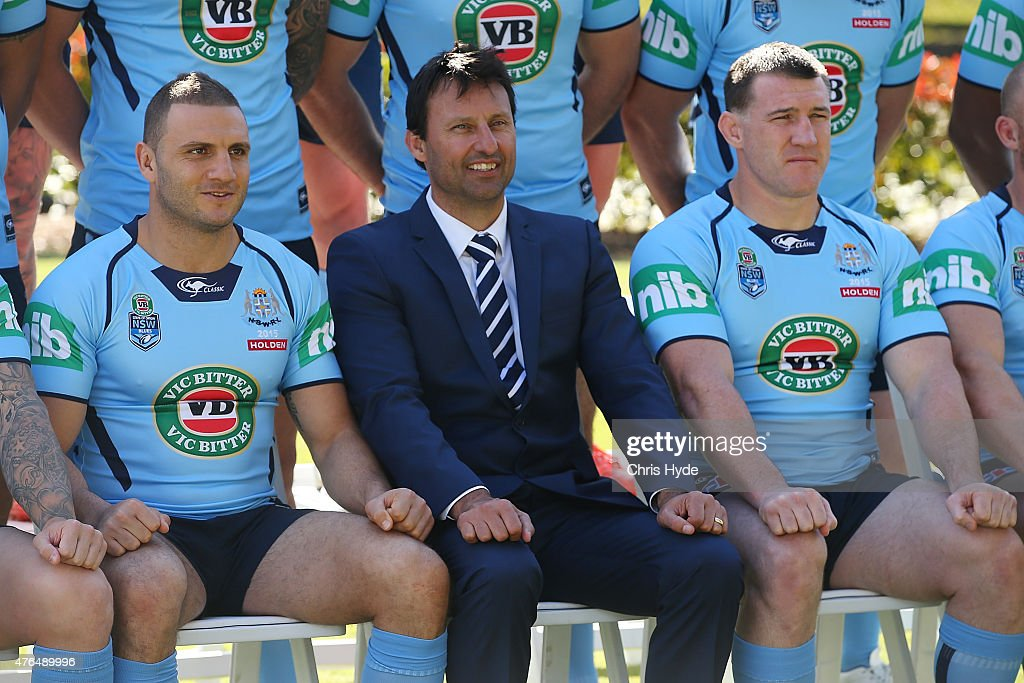 Robbie Farah, Coach Laurie Daley and Paul Gallen pose forcthe New South Wales Blues team photo at the Novotel on June 10, 2015 in Coffs Harbour, Australia.