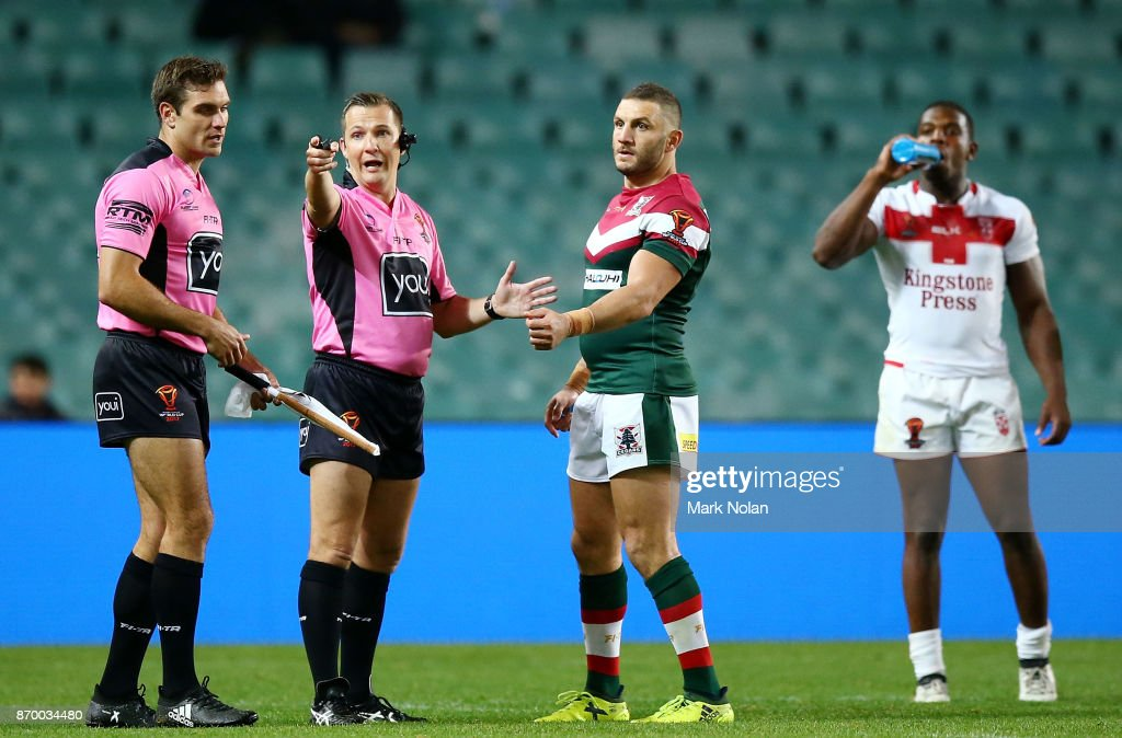 Robbie Farah of Lebanon makes an official complaint of biting against Jermaine McGillvary of England during the 2017 Rugby League World Cup match between England and Lebanon at Allianz Stadium on November 4, 2017 in Sydney, Australia.