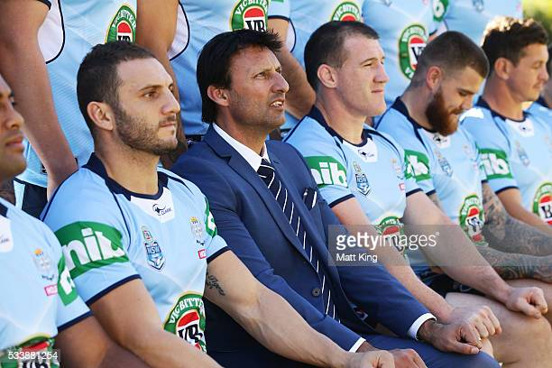 Robbie Farah of the Blues Blues head coach Laurey Daley and Paul Gallen of the Blues pose during a New South Wales Blues NRL State of Origin team...