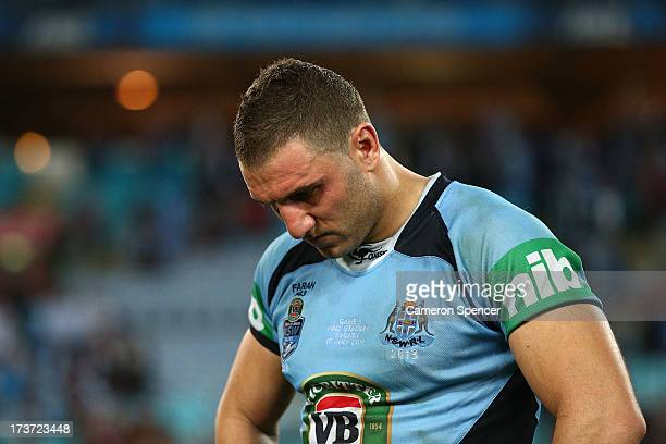 Robbie Farah of the Blues dejected after game three of the ARL State of Origin series between the New South Wales Blues and the Queensland Maroons at...