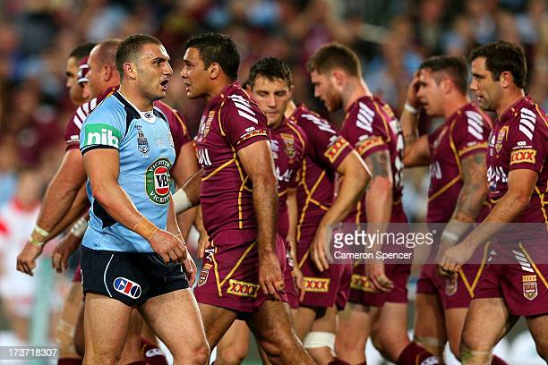 Robbie Farah of the Blues looks on after a Maroons try during game three of the ARL State of Origin series between the New South Wales Blues and the...