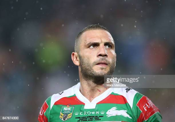 Robbie Farah of the Rabbitohs walks from the field after defeat in the round one NRL match between the South Sydney Rabbitohs and the Wests Tigers at...