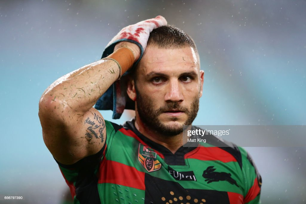 Robbie Farah of the Rabbitohs walks from the field after fulltime with a head cut during the round four NRL match between the South Sydney Rabbitohs and the Sydney Roosters at ANZ Stadium on March 23, 2017 in Sydney, Australia.