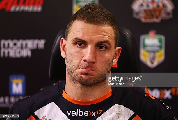 Robbie Farah of the Tigers talks to the media after the round 20 NRL match between the Wests Tigers and the St George Illawarra Dragons at ANZ...