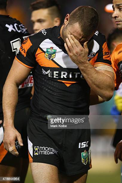 Robbie Farah of the Wests Tigers looks dejected during the round 16 NRL match between the Wests Tigers and the Penrith Panthers at Leichhardt Oval on...