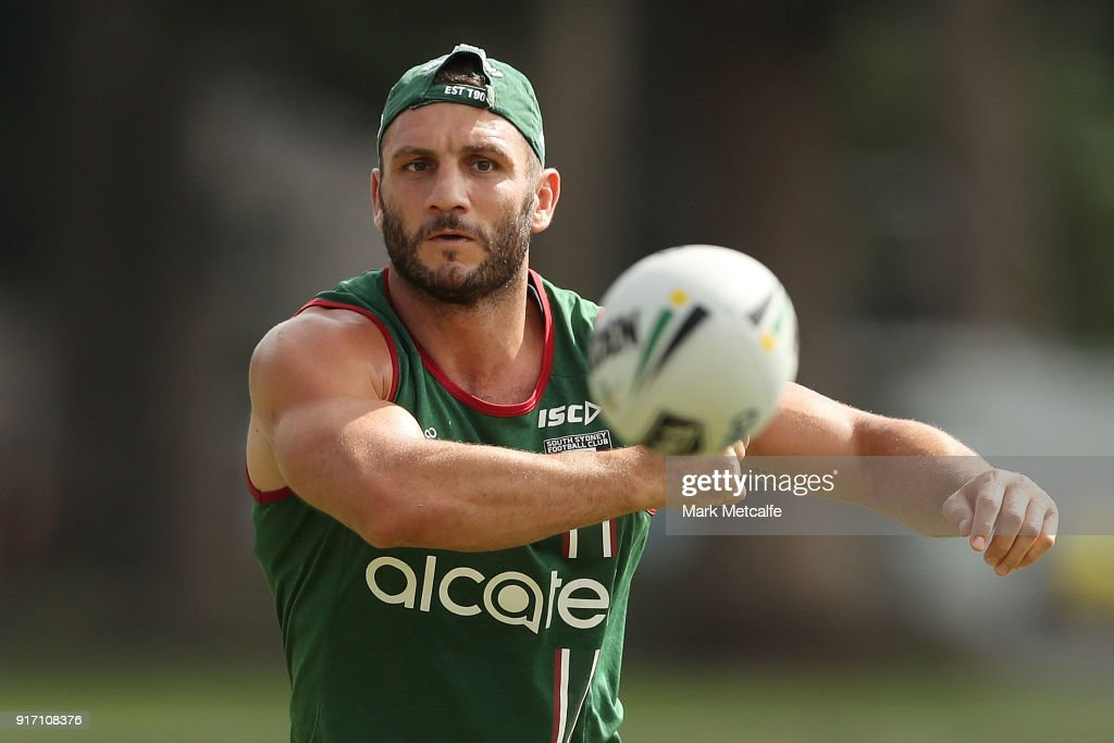 Robbie Farah passes during a South Sydney Rabbitohs NRL training session at Redfern Oval on February 12, 2018 in Sydney, Australia.