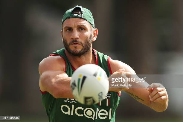 Robbie Farah passes during a South Sydney Rabbitohs NRL training session at Redfern Oval on February 12 2018 in Sydney Australia