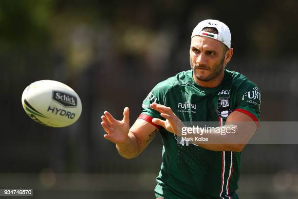 Robbie Farah passes during a South Sydney Rabbitohs NRL Training Session at Redfern Oval on March 20 2018 in Sydney Australia