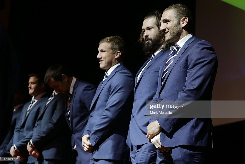 Robbie Farah smiles on stage during the New South Wales Blues State of Origin team announcement at Revesby Workers Club on June 30, 2015 in Sydney, Australia.